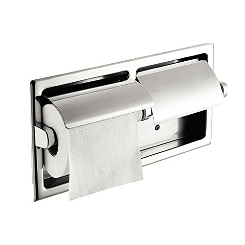 LUANT Recessed Double Roll Toilet Paper Holder for Bathroom Storage, Stainless Steel, Polished Chrome