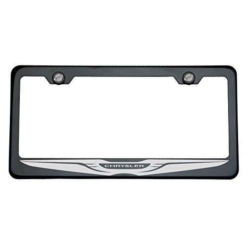 One Chrysler Logo on Black Chrome Stainless Steel License Plate Frame Holder Front Or Rear Bracket Laser Engrave Aluminum Screw Cap (Frame Chrysler Logo 300 License)