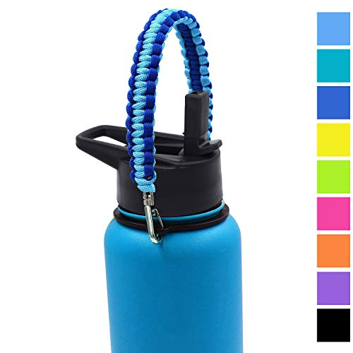 Handle for Wide Mouth Bottle - Flaskars Paracord Carrier Holder for Hydroflask Wide Mouth Sports Water Bottle (Double Blue, Pack of - Blue Water Carrier