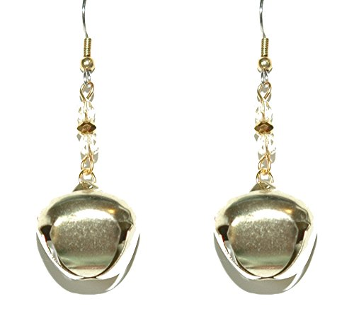 Pierced Bell - Bright Gold Jingle Bell Christmas Pierced Dangle Earrings (H211)