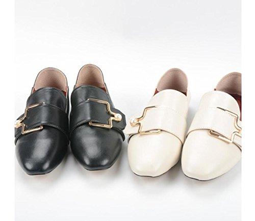 Faul Dekoration Metallschnalle Flache Fußpedal Perle Mode Schuhe ZFNYY Bequem AIxZqvwz