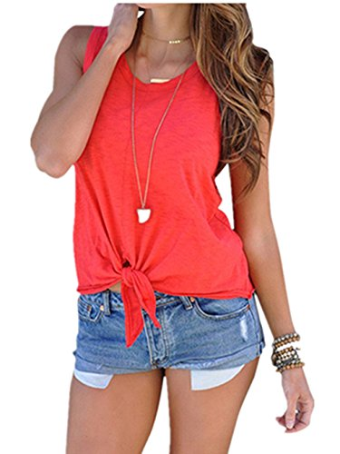 Ouregrace Women's Summer Sleeveless Shirt Blouse Front Tie Knot Cami Tank Tops (Red, S(US 4-6))