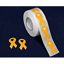 Small Gold Childhood Cancer Awareness Ribbon Stickers (500 Stickers) by Fundraising For A Cause