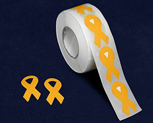 500 Childhood Cancer Awareness Small Gold Ribbon Shaped Stickers - (1 Roll - 500 Stickers)(ST-02S-11)