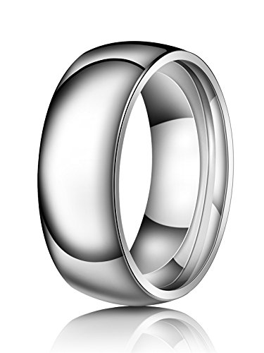 Stainless Steel Sterling Silver Ring - Just Lsy 8mm Titanium Rings Plain Dome High Polished Silver Wedding Band in Comfort Fit for Men & Women Size 8 Lsy-003