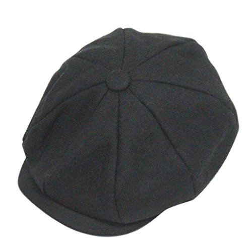 Classic 8 Panel Wool Tweed Newsboy Gatsby Ivy Cap Golf Cabbie Driving Hat,Black, - Hat Size 58