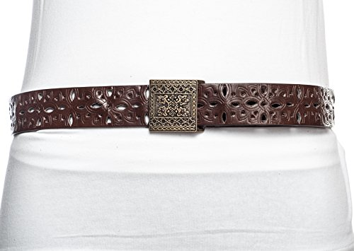 Sunny Belt Women's Abstract Cutout Motif Gold Square Buckle Belt Brown Large