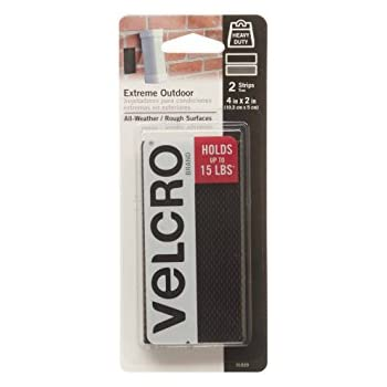 """VELCRO Brand - Extreme Outdoor - 4"""" x 2"""" Strips, 2 Sets - Black"""