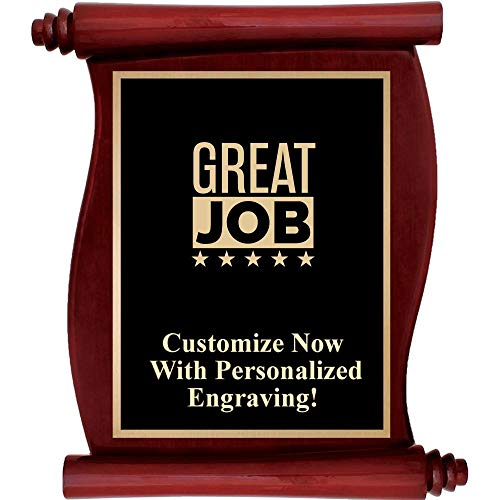 Rosewood Plaque Engraved - Custom Engraved Rosewood Scroll Plaques, Personalized Great Job Plaque Award with Up to 5 Lines of Engraving Included Prime
