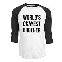 Men's Funny Graphic - World's Okayest Brother 3/4 Sleeve Raglan Shirts Tee