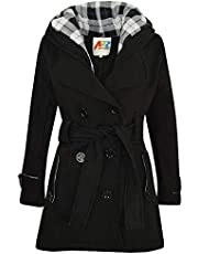 Kids Girls Overcoats Hooded Trench Coats Lapels Black Padded Long Parka Jackets