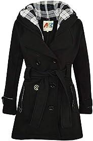 Kids Girls Overcoat Hooded Trench Coat Padded Oversized Lapels Long Parka Jacket