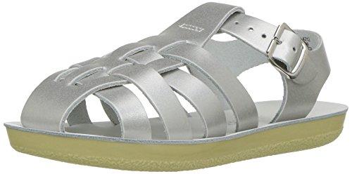Salt Water Sandals by Hoy Shoe Girls' Sun-San Sailor Flat Sandal, Silver, 5 M US Toddler