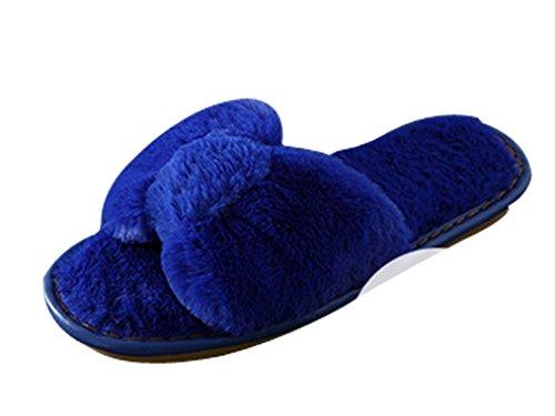 Cravatta Ciabatta Da Donna Furry Pantofole Da Camera Blu