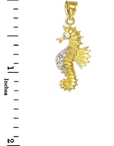 10 ct 471/1000 Or Oxyde de Zirconium Hippocampe Charme Pendentif