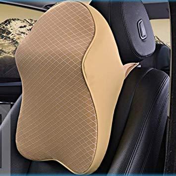 Uniqus Dual-Purpose Rebound Memory Foam Car Headrest Pillow Breathable Waist Back Cushion(Beige)
