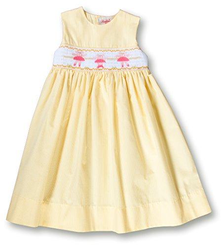 Yellow Seersucker (Rosalina Little Girl's Yellow Seersucker Pink Dancing Ballerina Bears Smocked Sundress 3T)