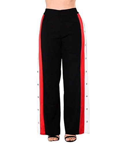 Women's Fashion Sexy Side High Split Pants Button Snap Closure Wide Leg Trousers (M(28