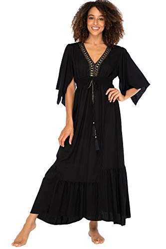 Back From Bali Womens Long Sundress Flowy Boho Beach Maxi Dress with Beaded Deep V Neck, Casual Sexy Summer Party Dress Black X-Large