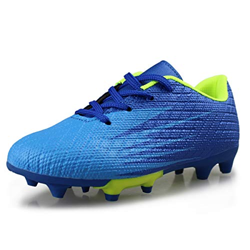 the latest fd4dd a944a Hawkwell Kids Athletic OutdoorIndoor Comfortable Soccer Shoes(ToddlerLittle  KidBig Kid),Blue PU,1 M US