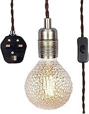 SHINY STAR Antik mässing pendellampa med plug-in, hängande lampa i vintagestil kit E27 lamputtag, 4 500 mm flätad kabel med en avbrytar-81904APG
