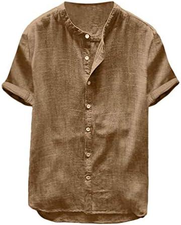 Willow S Men`s Baggy Cotton Linen Solid Color Short Sleeve Button Retro T Shirts Tops Blouse Khaki