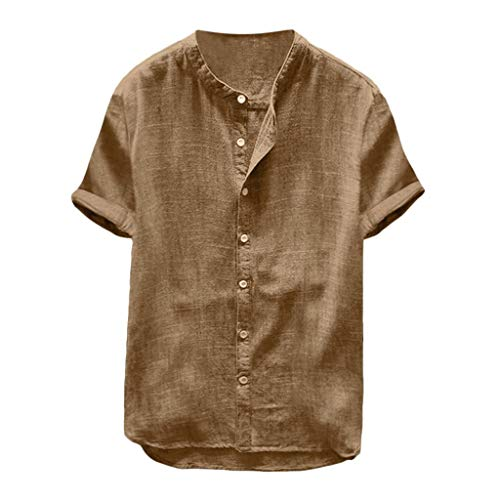 (Willow S Men's Baggy Cotton Linen Solid Color Short Sleeve Button Retro T Shirts Tops Blouse Khaki)