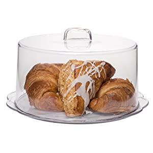 """Best Epic Trends 41FnxDmiLUL._SS300_ Clear Plastic Cake Platter With Cover, Covered Dessert Display, Cupcake Pastry and Pie Server with Dome, 10""""Dia"""