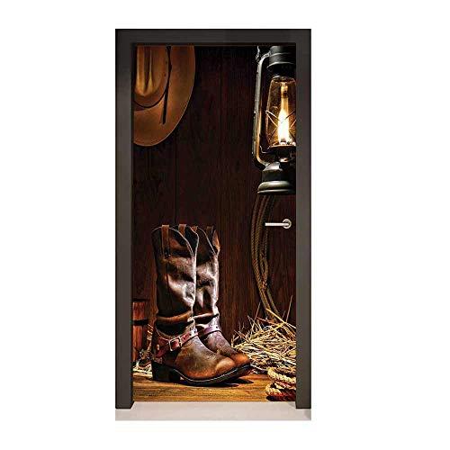 Western Decor 3D Door Wallpaper American Rodeo Cowboy Traditional Leather Working Roper Boots Decor Door Mural,W23.6xH78.7