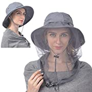 Mosquito Head Net Hat, Breathable Sun Hat Beekeeper Hat Cap with Veil Protection from Insect Bug Bee Mosquito Wide Brim…