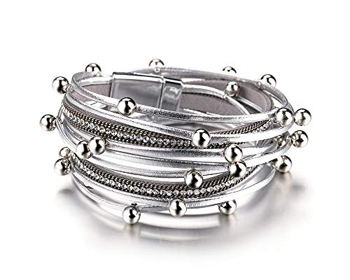 Fesciory Women Multi-Layer Leather Wrap Bracelet Handmade Wristband Braided Rope Cuff Bangle with Magnetic Buckle Jewelry (Silver Beads)