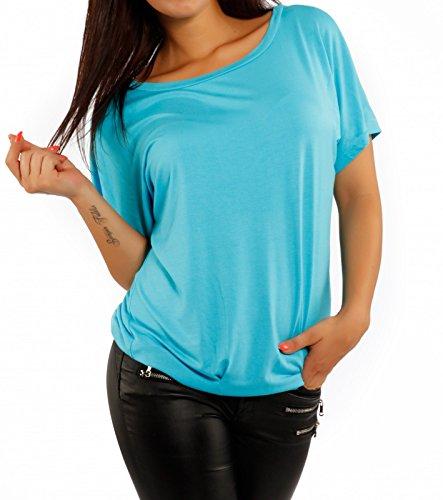 Camiseta básica para mujer, aspecto de gran tamaño azul claro