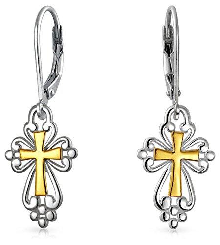 Religious Cross Flur De Lis Dangle Leverback Earrings For Women Filigree Two Tone 14K Gold Plated 925 Silver .75 In