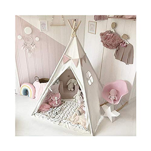 Kids Foldable Teepee Play Tent Playhouse Classic Indian Style Play Tent and Carry Bag, Walls with Door, Window and Floor Kids Teepee Tent for Kids Play Tent (White)