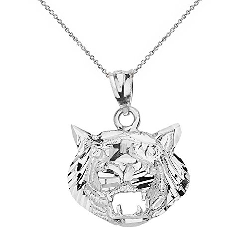Textured Roaring Tiger Head Charm Pendant Necklace (22