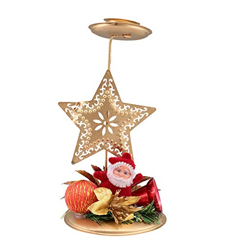 Santa Candle Vintage Xmas Creative Hollow Stand Santa Tree Star Candle Holder Candlestick Home Decor Tea Light Holder Xmas Party Decor