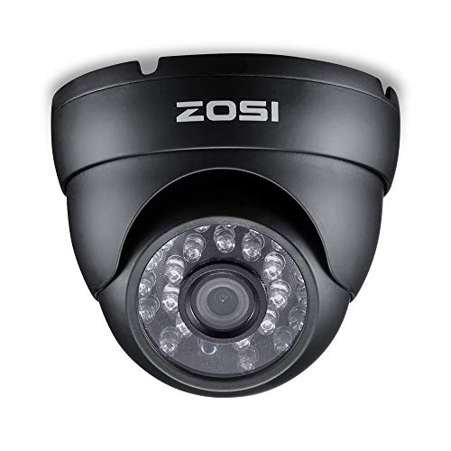ZOSI 1080P TVI Security Dome Camera for Home Surveillance CCTV System-Weatherproof 2.0MP Camera with Night Vision Black