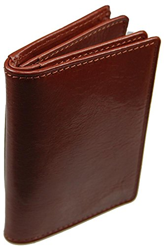 Castello Italian Leather Mid Flap Cardholder Wallet (Brown)