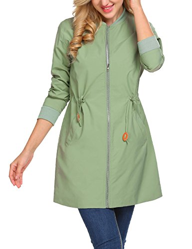 ELESOL Women's Full-Zip Quilted Wibdbreaker Lightweight Fashion Bomber Jacket Green/L