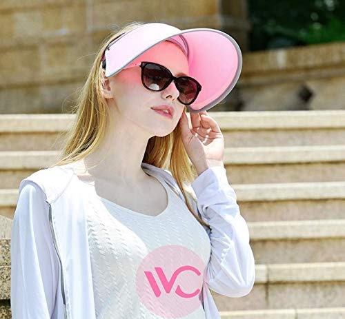 VVC Sun Hats for Women UV Protection Caps Beach Visor Goddess Hat On TV (Pink)
