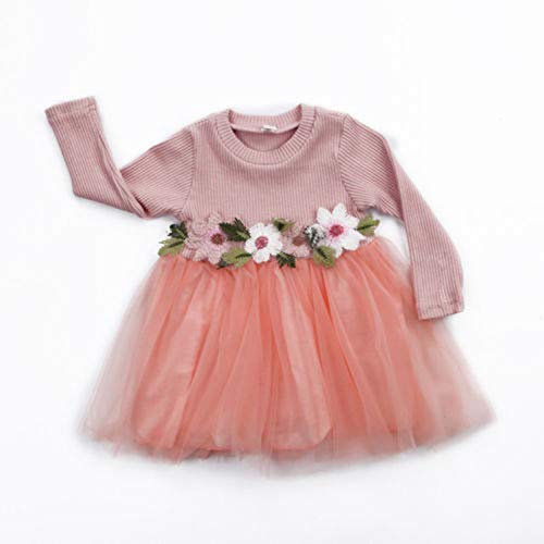 (Newborn Girl Clothes Dress Floral Lace Dresses Toddler Infant Baby Girls Flower Long Sleeve Tulle Dresses Fashion Costume As Photo shows1)