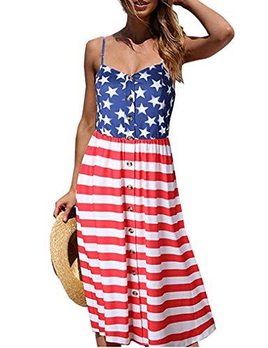 Halife Womens Dresses Summer American Flag Spaghetti Strap Sundresses Button Down Swing Midi Dress with Pockets Flag L