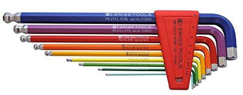 PB Swiss Tools PB 212LH-10 RB Ballend hex set long rainbow Pb Sandwiches