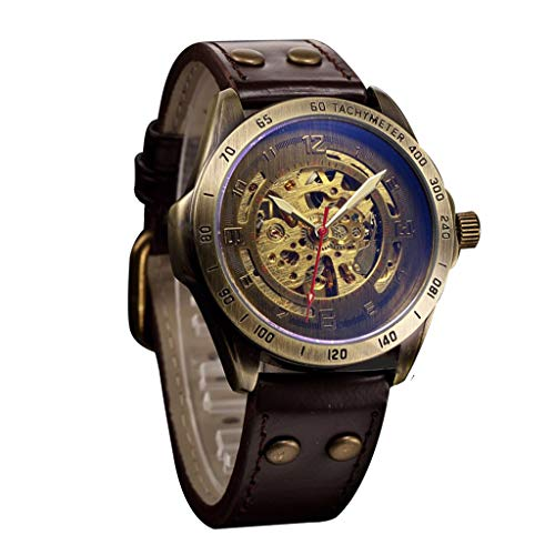 Londony  Men's Steampunk Bronze Skeleton Self-Winding Auto Mechanical Leather Wrist Wacth Classic Retro Watch