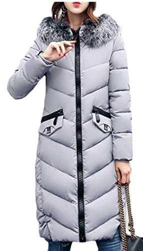 Thickened with Gery Down Long Coat Women's Hooded EKU qBRTw