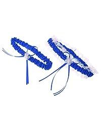 MonkeyJack Rustic Bridal Wedding Garter Set Hen Party Lace Garter Wedding Accessory - Royal Blue, 30-56cm