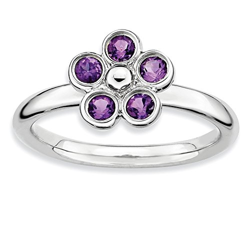 925 Sterling Silver Purple Amethyst Flower Band Ring Size 7.00 Stone Stackable Gemstone Birthstone February Fine Jewelry Gifts For Women For Her