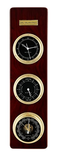 Del Milan 3 in 1 Fishermans Station, Clock, Tide Clock, Barometer, Mahogany Finish by Del Milan