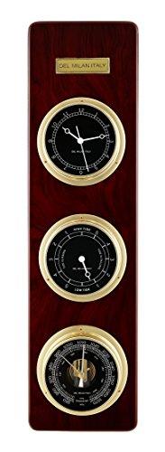 Del Milan 3 in 1 Fishermans Station, Clock, Tide Clock, Barometer, Mahogany Finish