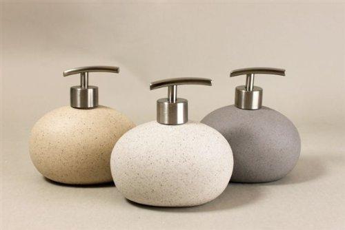 White Stone Effect Ceramic Round Soap Liquid Dispenser